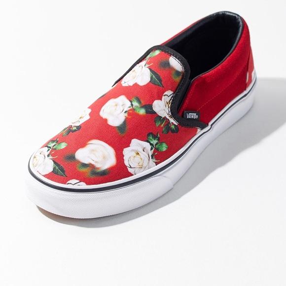 vans red floral